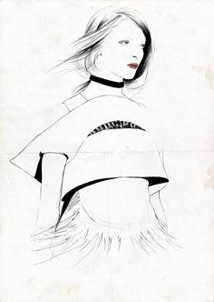 236x332 Fashion Sketch In Charcoal Fashion Illustration Susanna Ngao