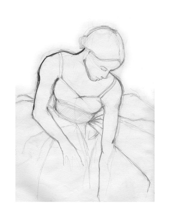 570x726 Female Ballet Dancer, Print Of Pencil Drawing, Ballet Gift, Degas