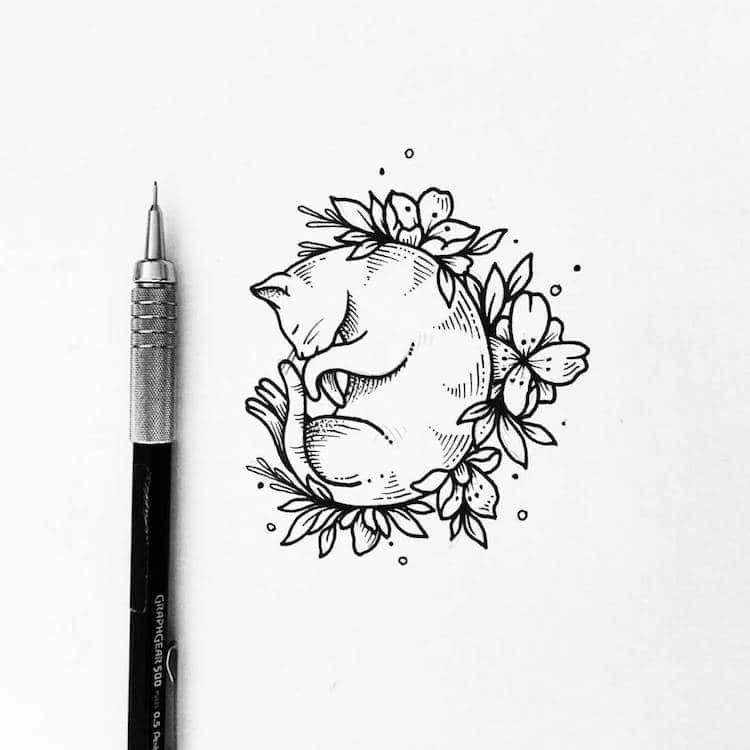 750x750 Illustrative Tattoo Artist Turns Drawings Into Black Ink Tattoo