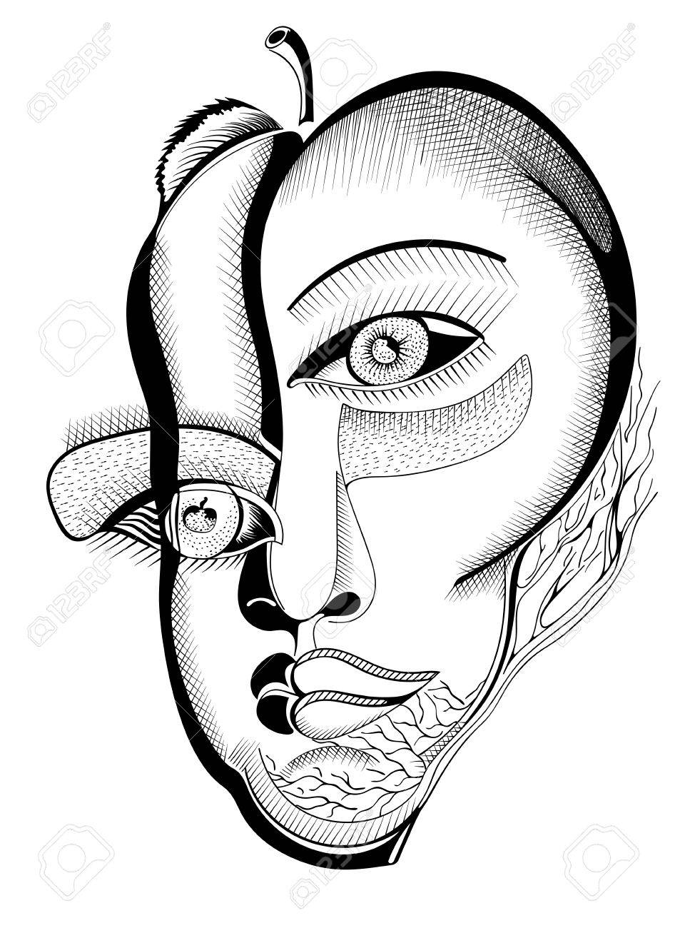 953x1300 Surreal Hand Drawing Faces, Abstract Template With Black Outlines