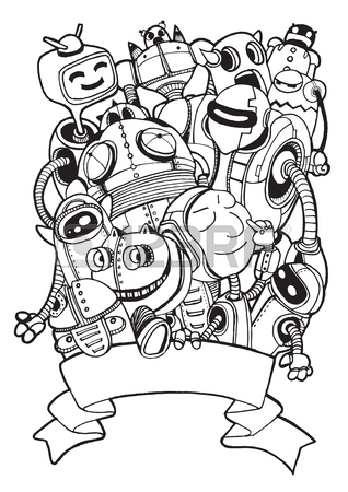 318x450 Hand Drawn Vector Illustration Of Doodle Robot Element