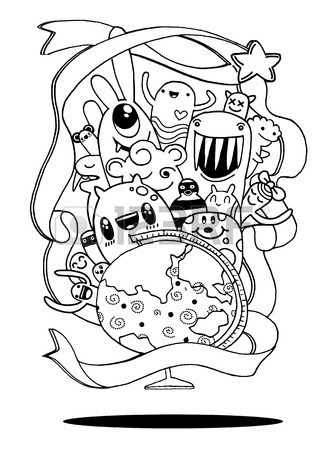 324x450 Hipster Hand Drawn Crazy Doodle Monster City,drawing Style.vector