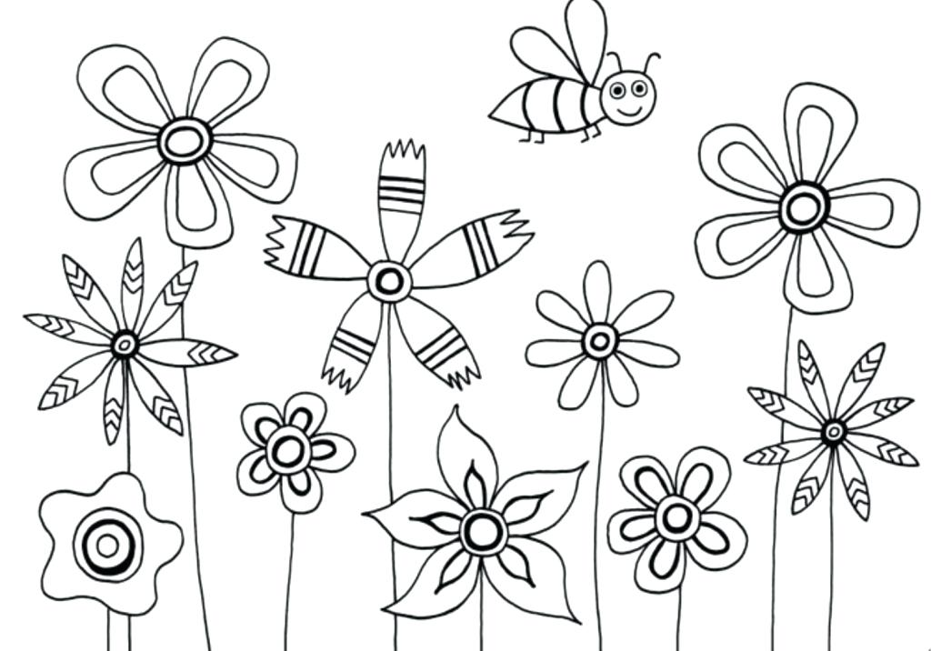 1024x716 Simple Flowers Drawing Neat Flower Sketch By On Simple Flower Media