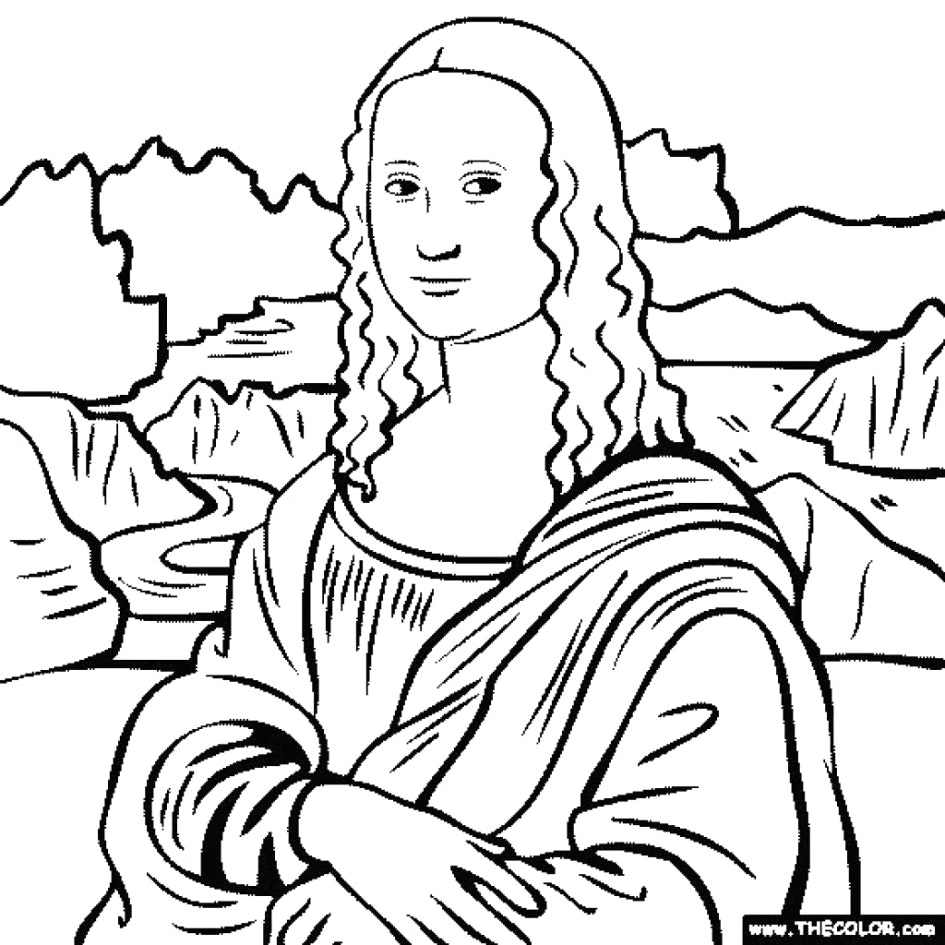 945x945 Mona Lisa Line Drawing Lovely Coloring Page Monalisa Pages
