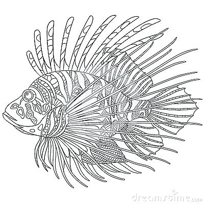 400x400 Lionfish Coloring Page Drawing Mermaid Pages