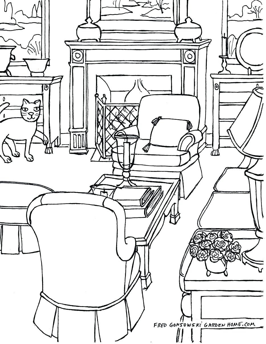 934x1209 Decoration Drawings Of Living Rooms Room Picturesque Drawing