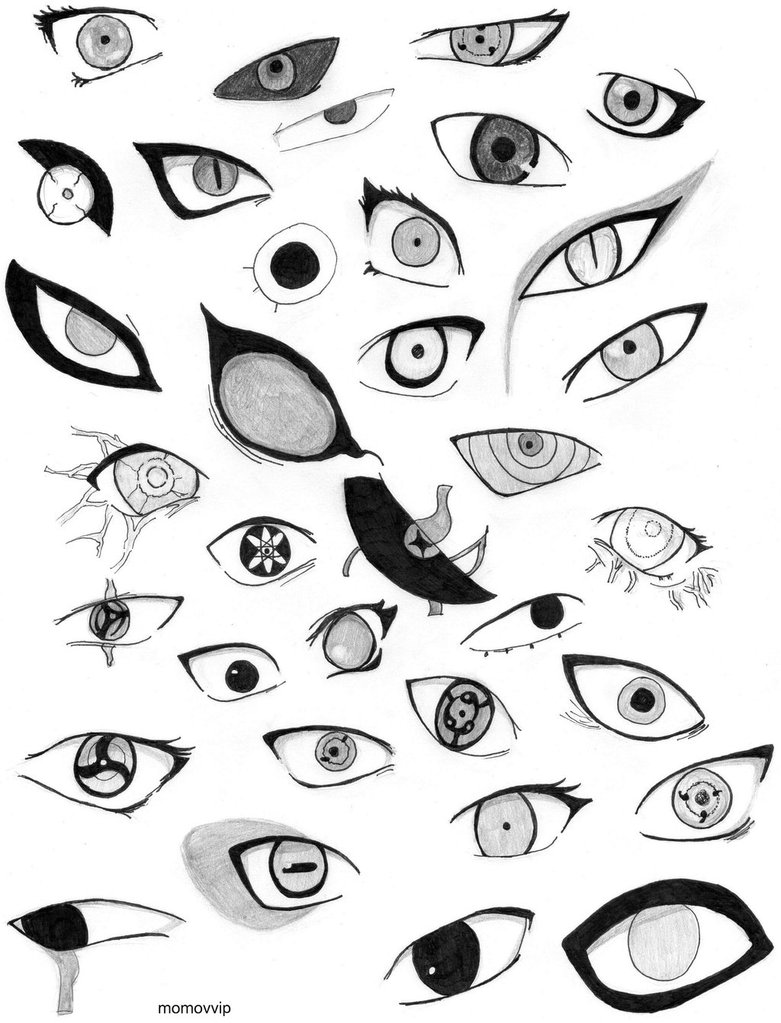 781x1023 Eyes Of The Characters Of Naruto By Momovvip