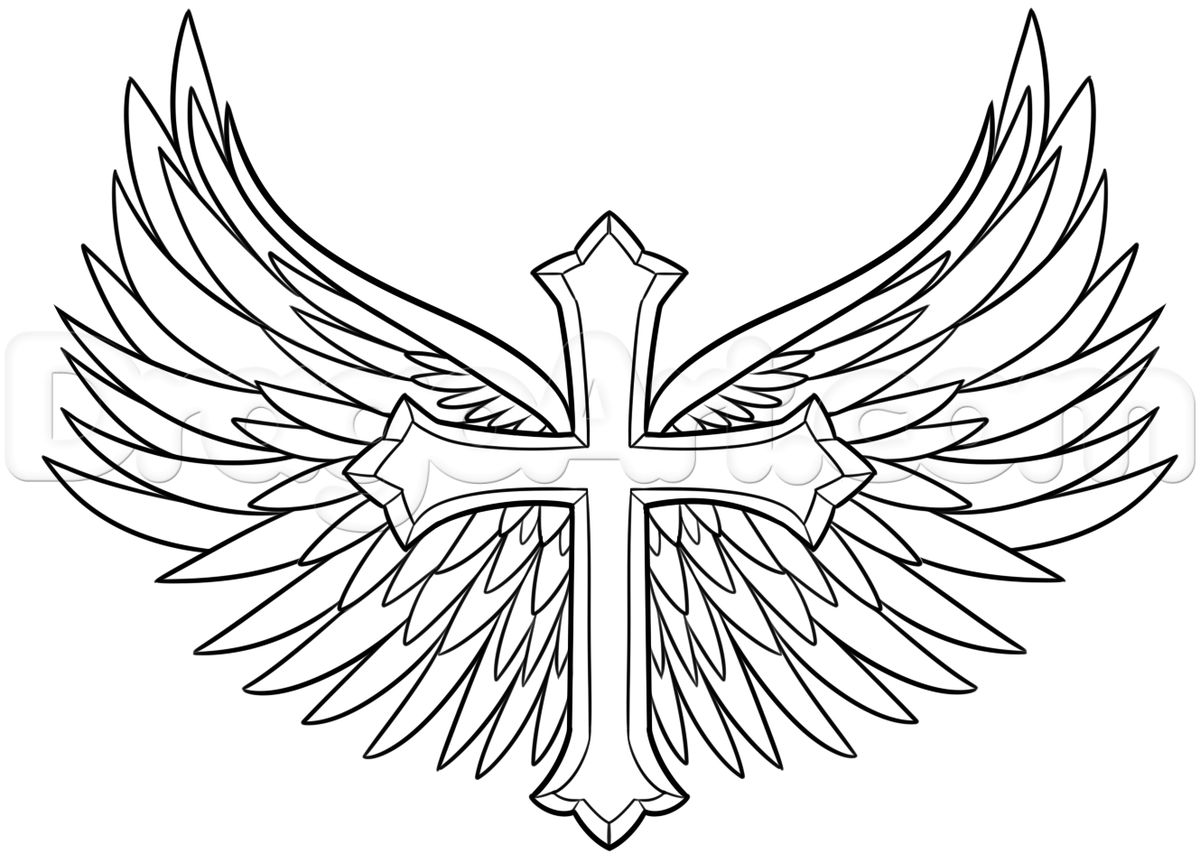 1200x863 Drawing Cool Cross Drawings With Wings With Cool Easy Cross