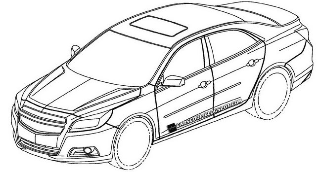 645x349 Patent Designs Of Chevrolet Sedan With Camaro Esque Read End Is