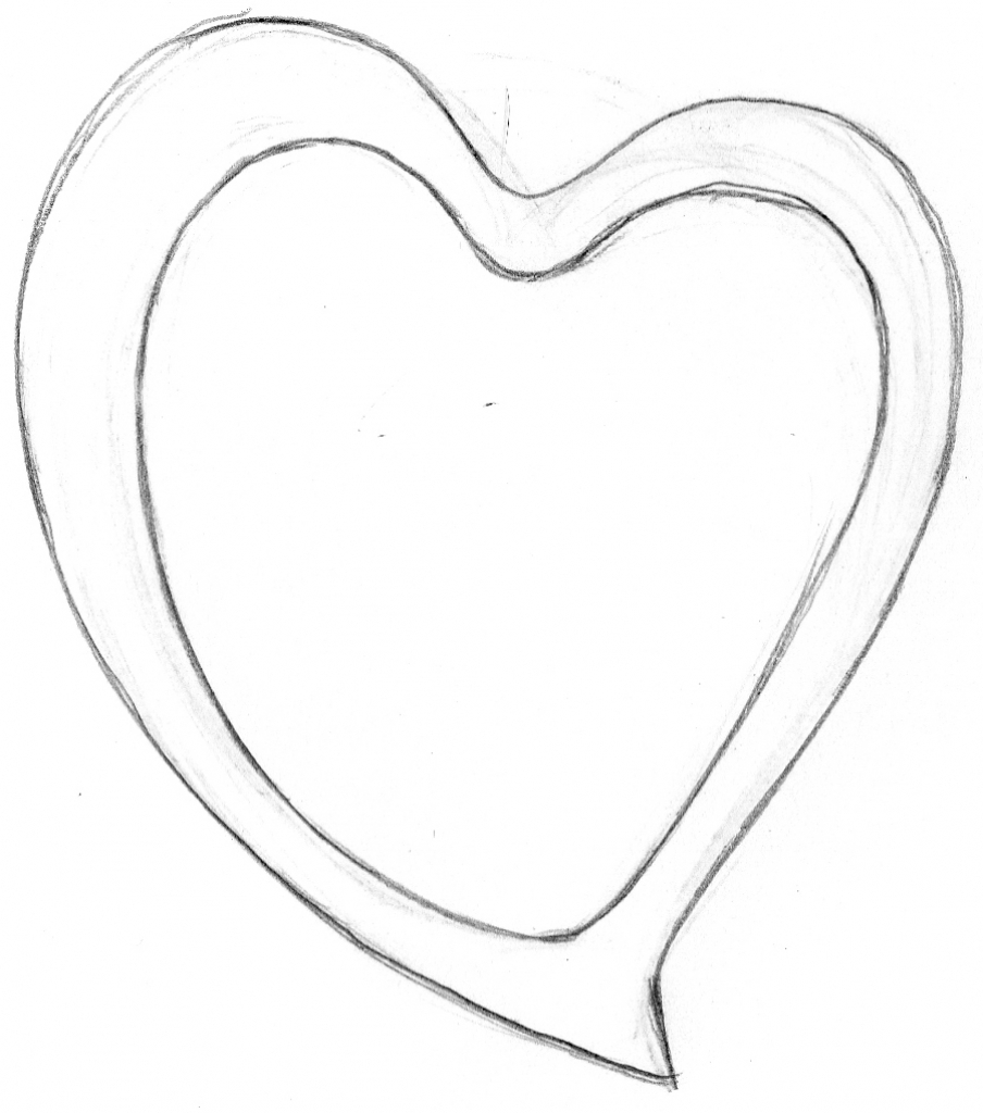 904x1024 3d Real Heart Sketch Heart Pencil Sketch