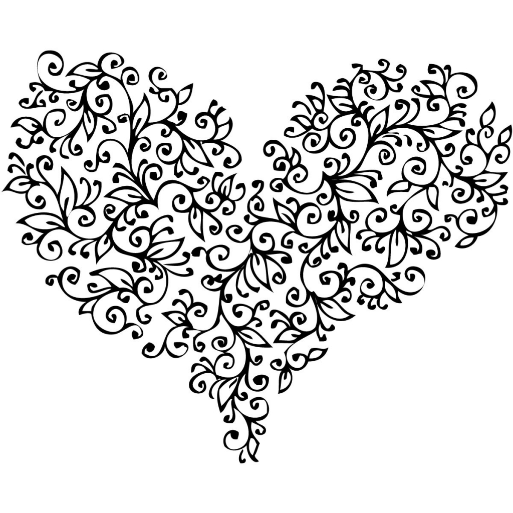 1024x1024 Love Heart Drawings Love Heart Tattoo Black And White Wallpapers