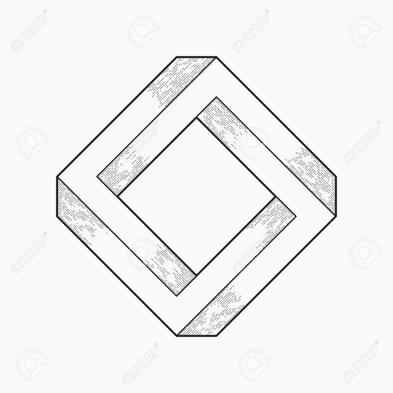 1300x1300 Impossible Shape, Square, Line Design Royalty Free Cliparts
