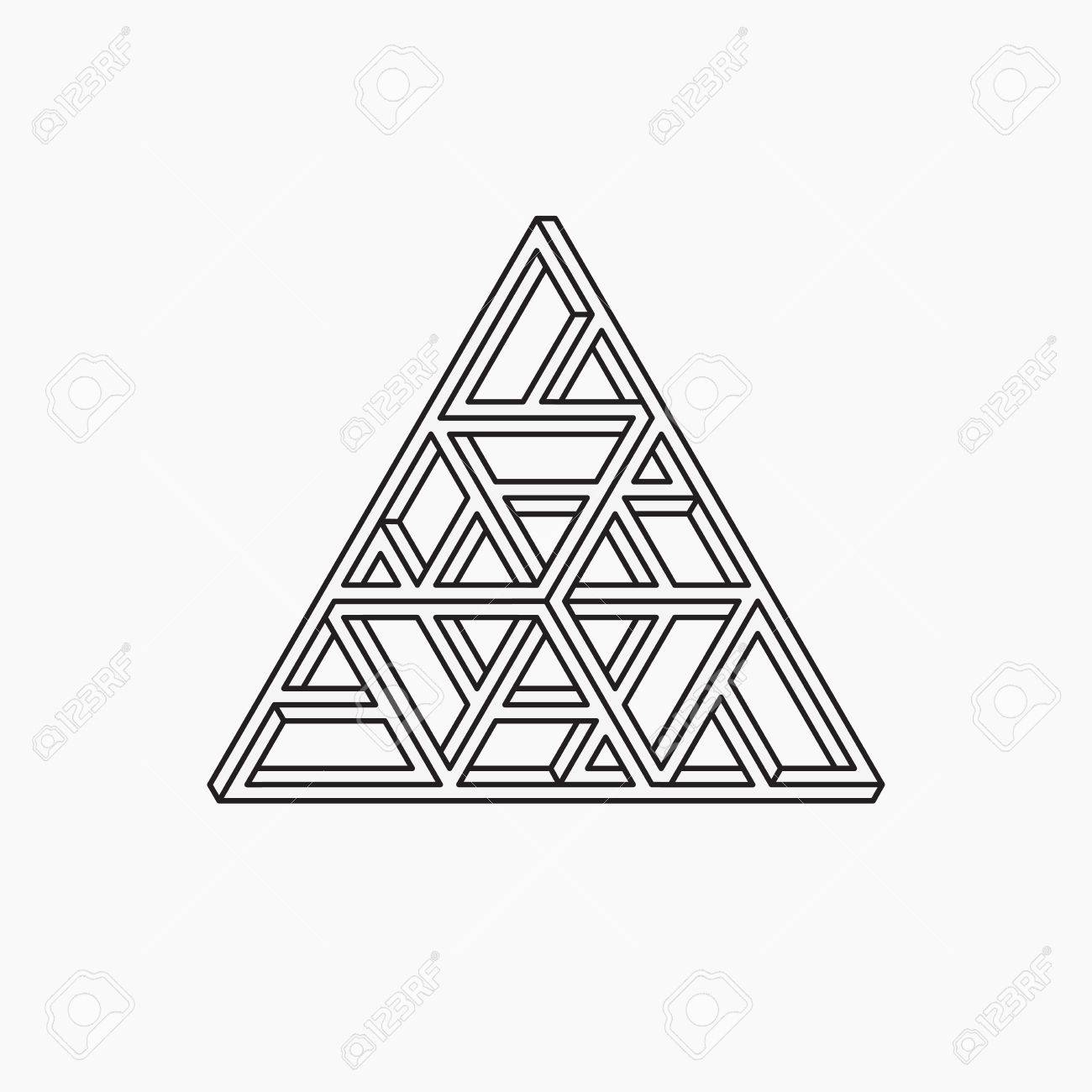 1300x1300 Impossible Shape. Triangle. Line Design. Vector Illustration