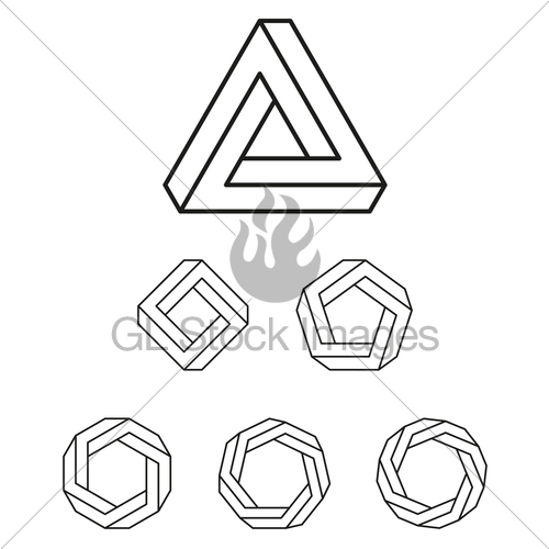 500x500 Penrose Triangle And Polygons Outline Gl Stock Images