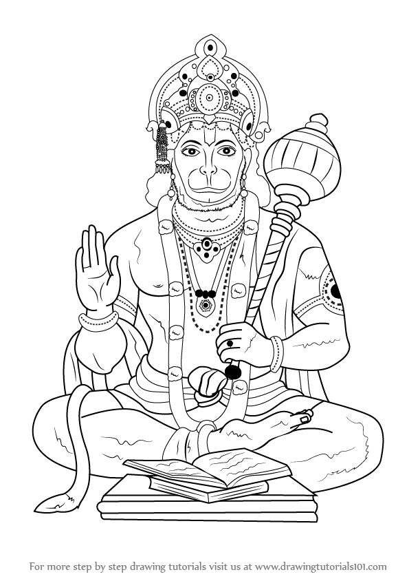 595x844 Learn How To Draw Lord Hanuman (Hinduism) Step By Step Drawing