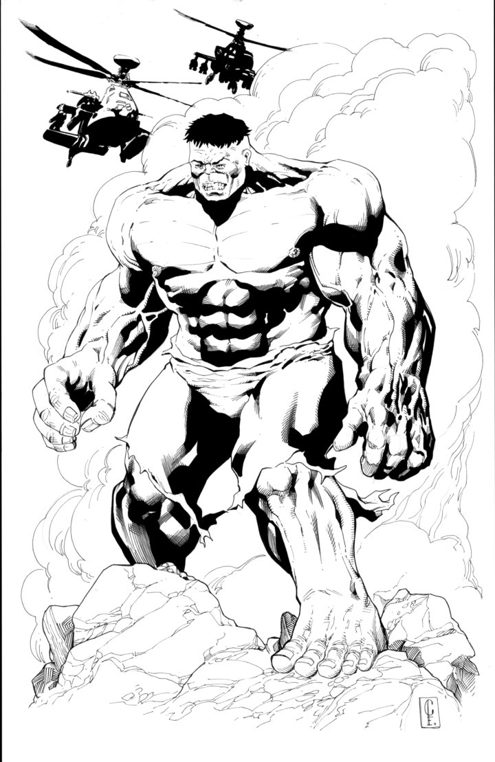 720x1109 The Incredible Hulk Convention Print Line Art By Cheelee