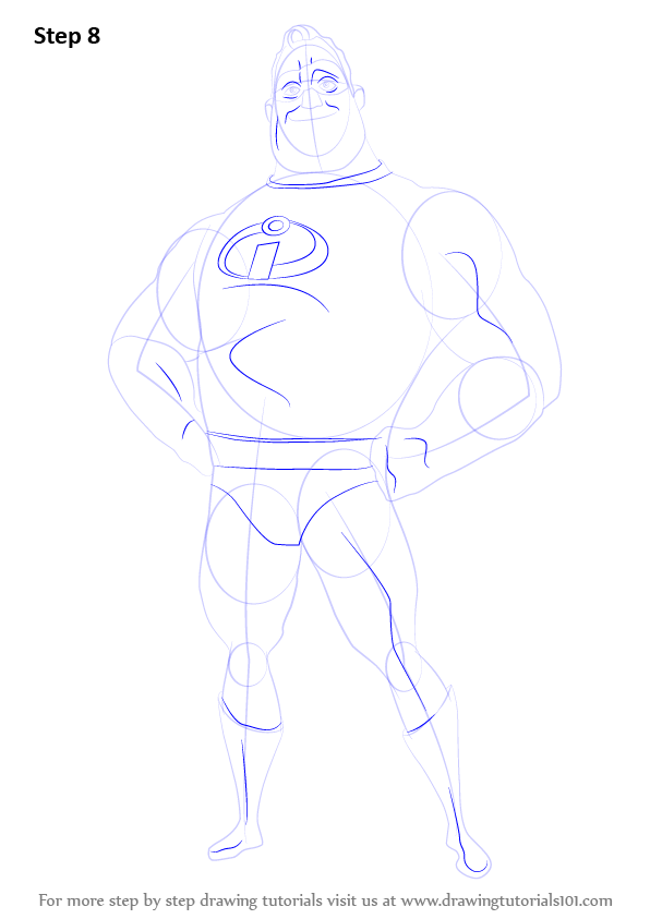 596x843 Learn How To Draw Mr. Incredible From The Incredibles (The