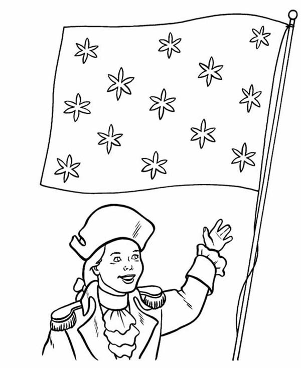 600x734 Honoring Flag On Independence Day Event Coloring Page Color Luna