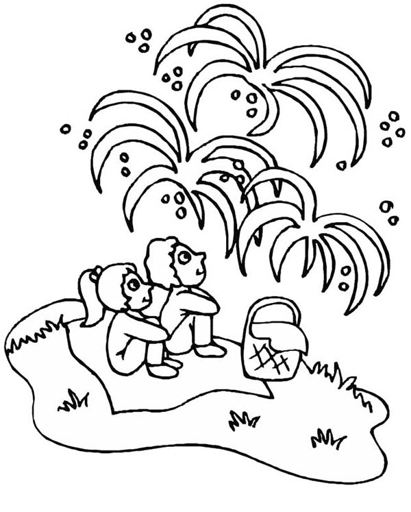 600x747 Childrens Watching Fireworks On Independence Day Event Coloring