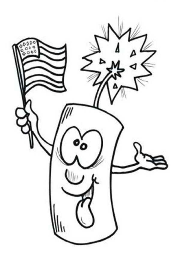 600x868 Ligh Firecracker On Independence Day Event Coloring Page