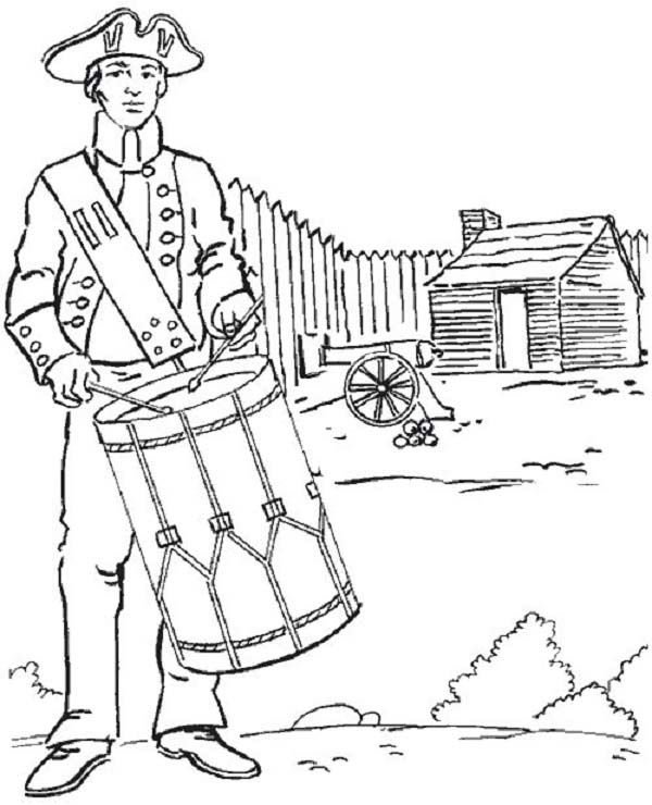 600x740 American Soldier Fight For 4th July Independence Day Coloring Page