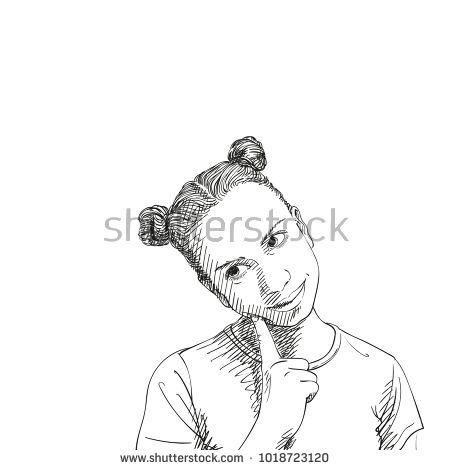 450x470 Sketch Of Dreaming Teenage Girl With Two Buns Hairstyle And Index