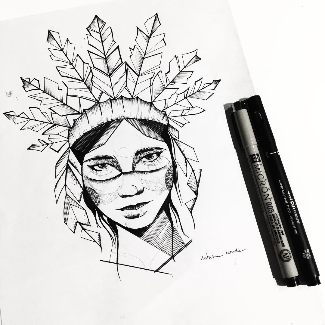 1080x1080 Desenho De India Em Preto E Branco.
