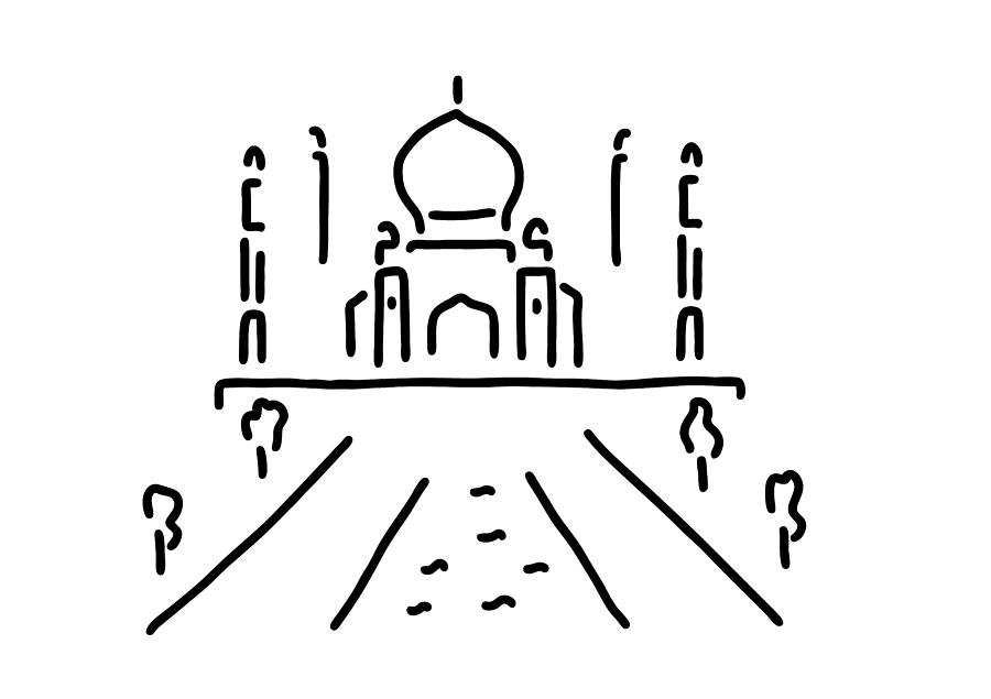 900x635 Taj Mahal India Agra Drawing By Lineamentum