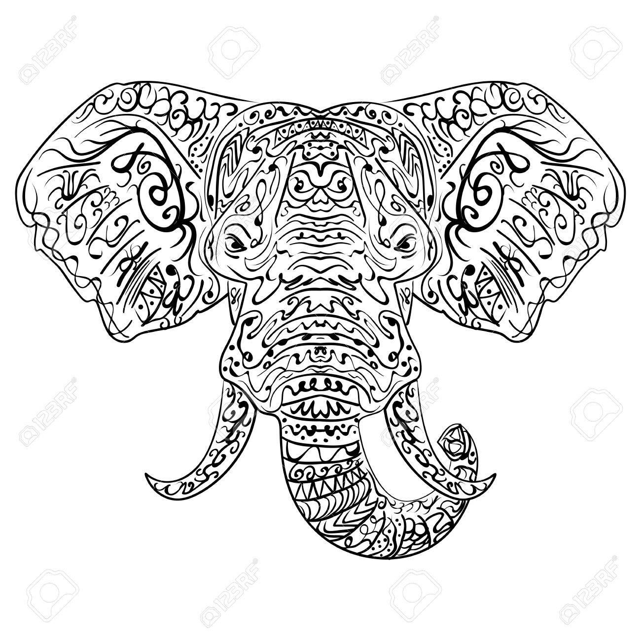 1300x1300 Ethnic Indian Elephant Boho Paisley. Freehand Sketch For Adult