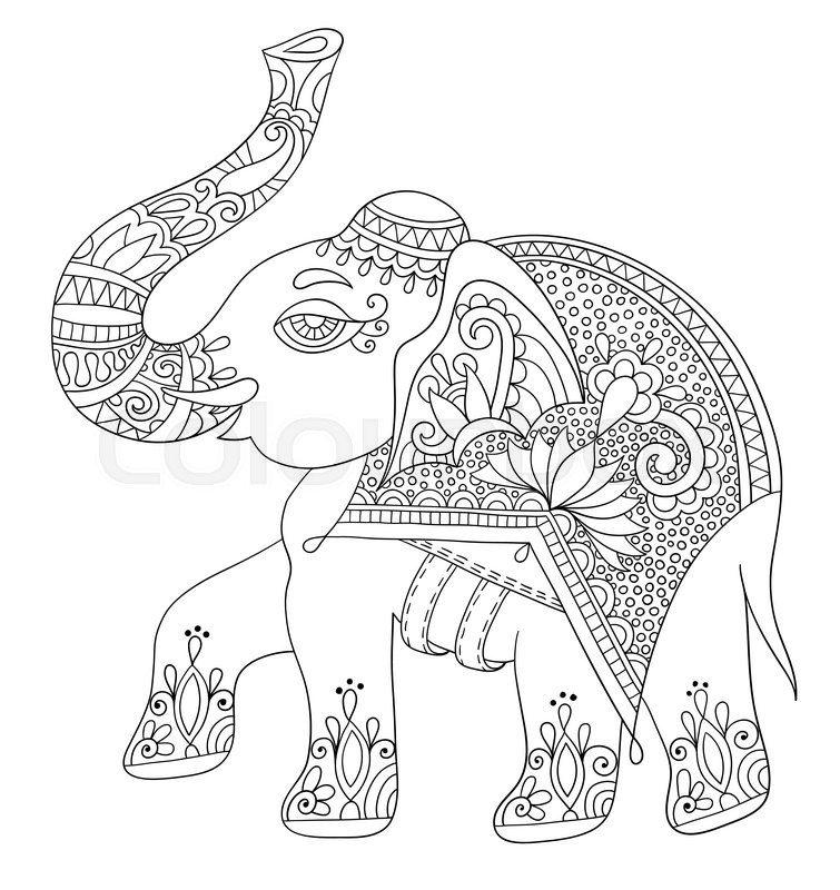 755x800 Ethnic Indian Elephant Line Original Drawing, Adults Coloring Book