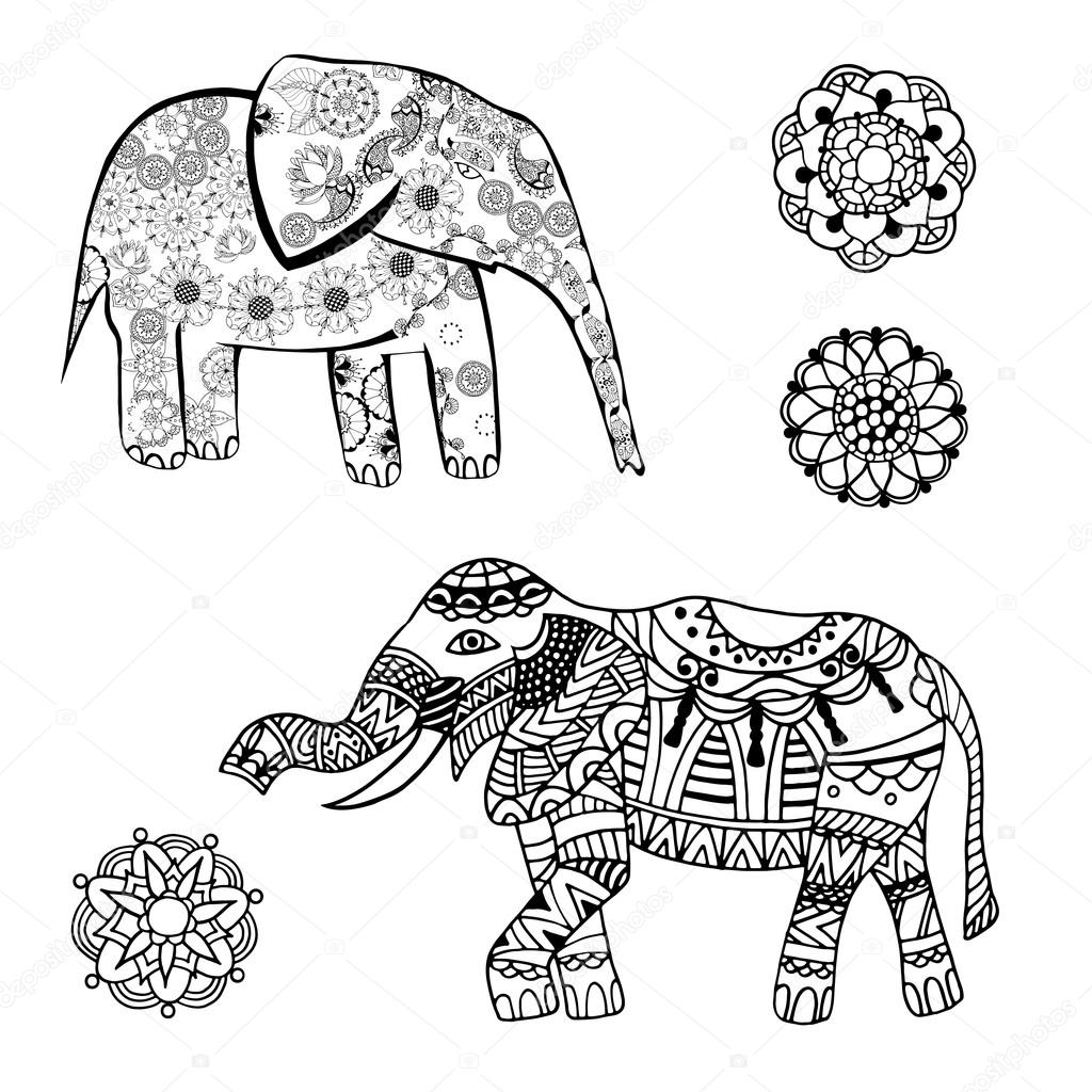 1024x1024 Vector Drawing Of A Elephant With Ethnic Patterns Of India. On