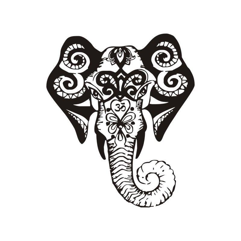 800x800 Art Design Mural Elephant Head Vinyl Wall Decals Indian Ganesha
