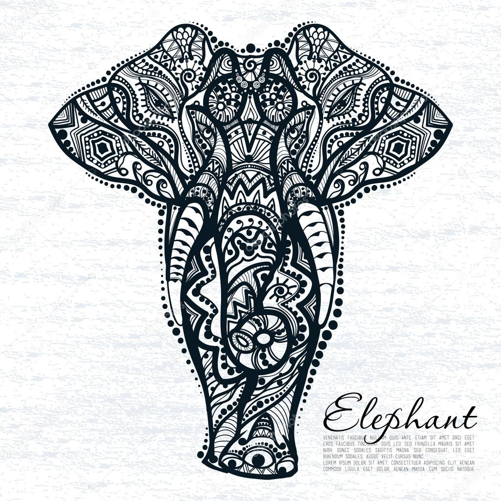 1024x1024 Abstract Elephant With Indian Ornament Stock Vector Deedman