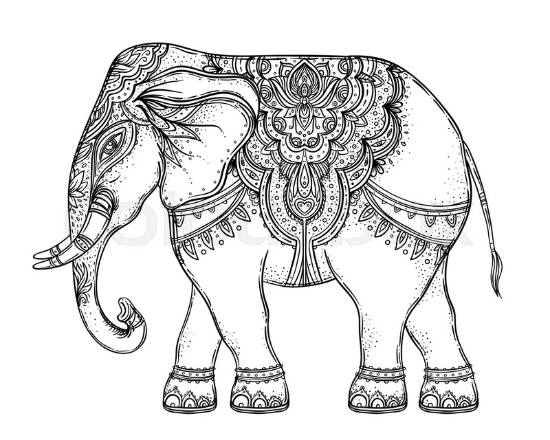 800x640 Beautiful Hand Drawn Tribal Style Elephant Over Mandala. Colorful