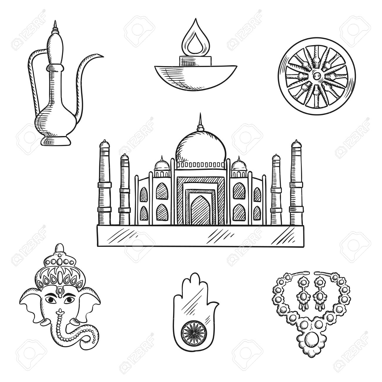 1300x1300 Indian Religion And Culture Symbols With Ganesha God And Element