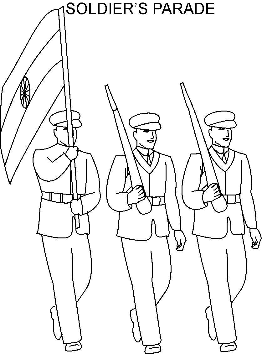837x1130 Republic Day Soldier Parade Coloring Page