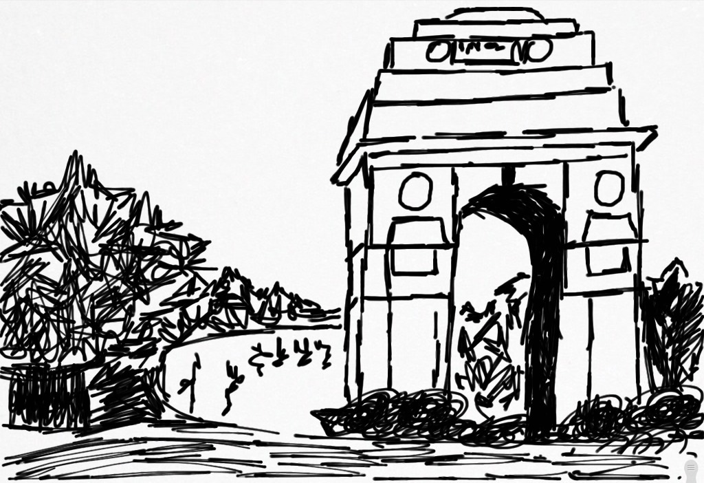 1024x702 Anshul Tewari Sketched The India Gate On My Ipad.