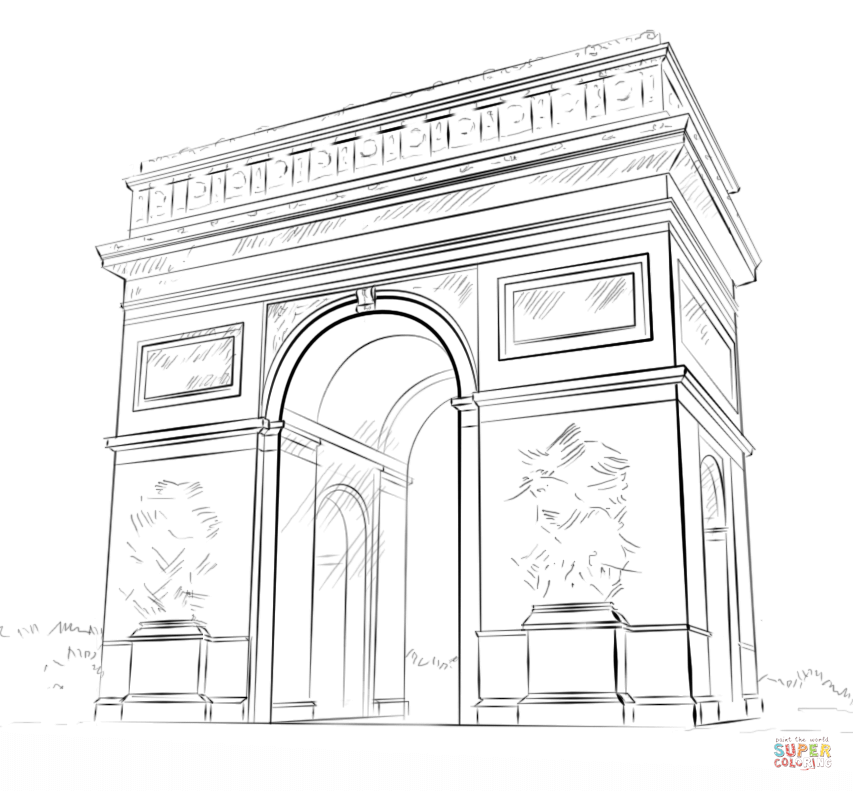 853x791 Arc De Triomphe Coloring Page Free Printable Coloring Pages