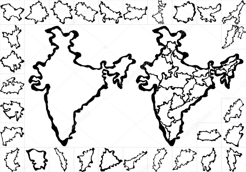 1023x716 India Map. Stock Vector Lalan33