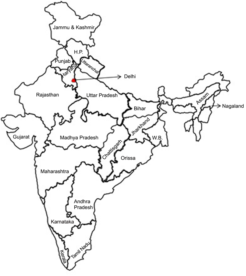 850x953 Map Of India Showing Study Location (State Of Delhi).