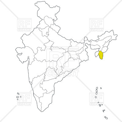 400x400 North Eastern State Mizoram On The Map Of India Free Vector Clip