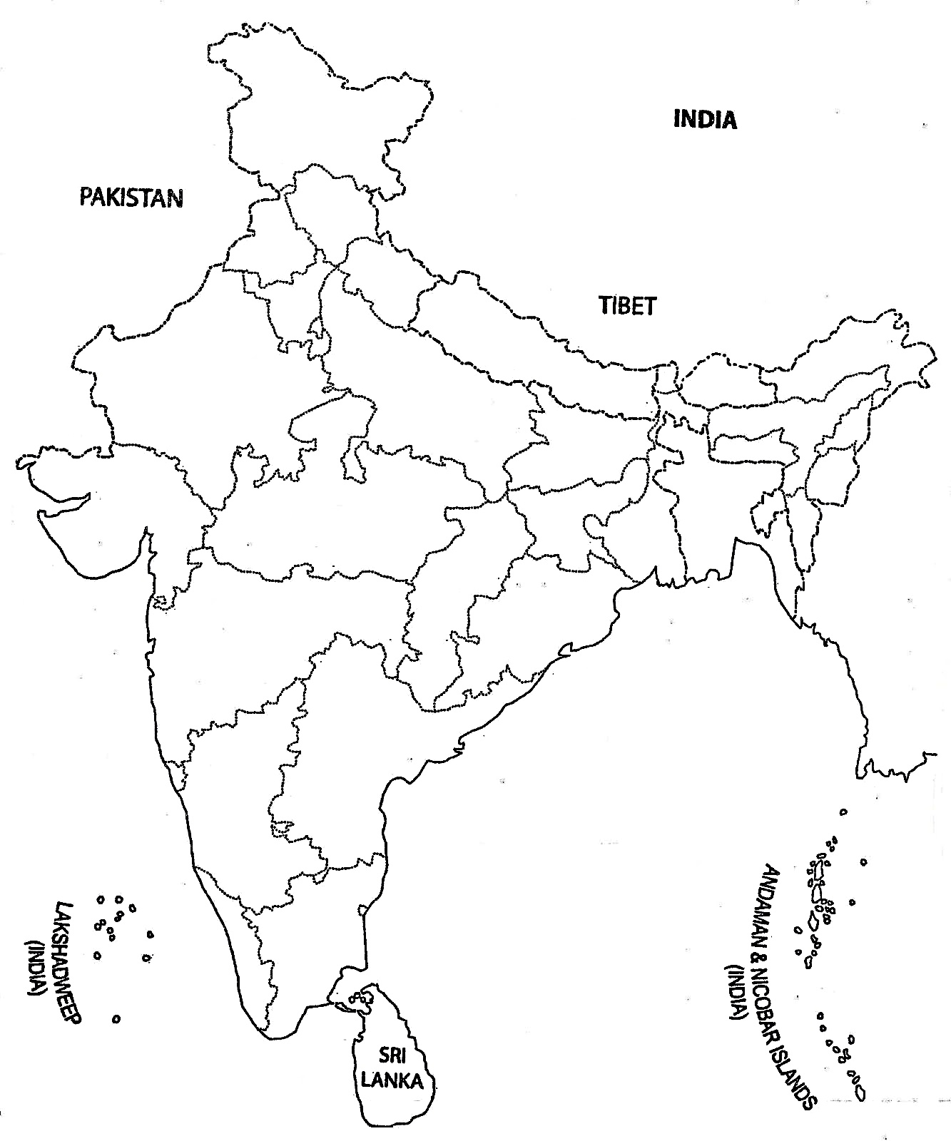 1333x1600 India Map Outline A4 Size Map Of India With States
