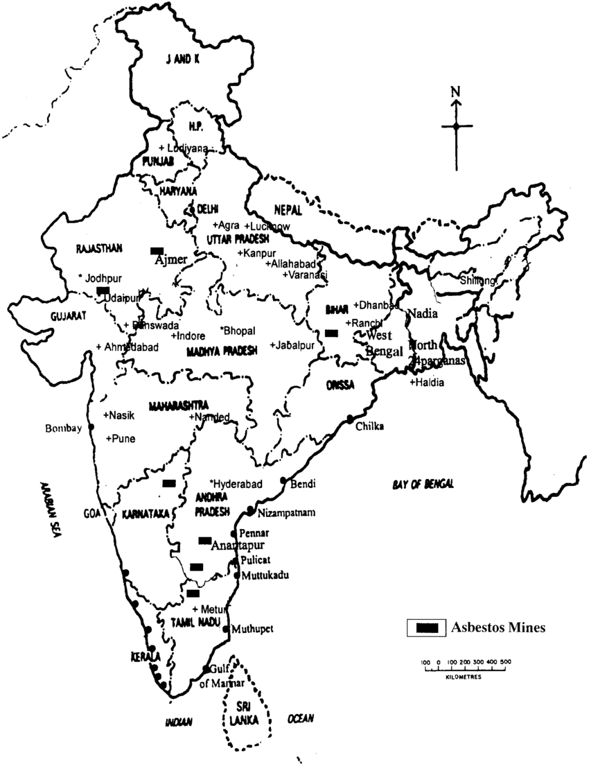 850x1105 Showing Major Asbestos Mines In India.