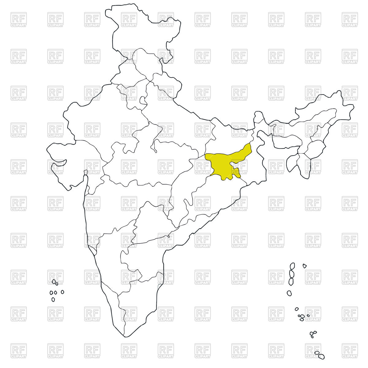 1200x1200 Eastern State Jharkhand On The Map Of India Royalty Free Vector