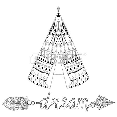 450x450 Hand Drawn American Native Wigwam With Ethnic Ornamental Elements