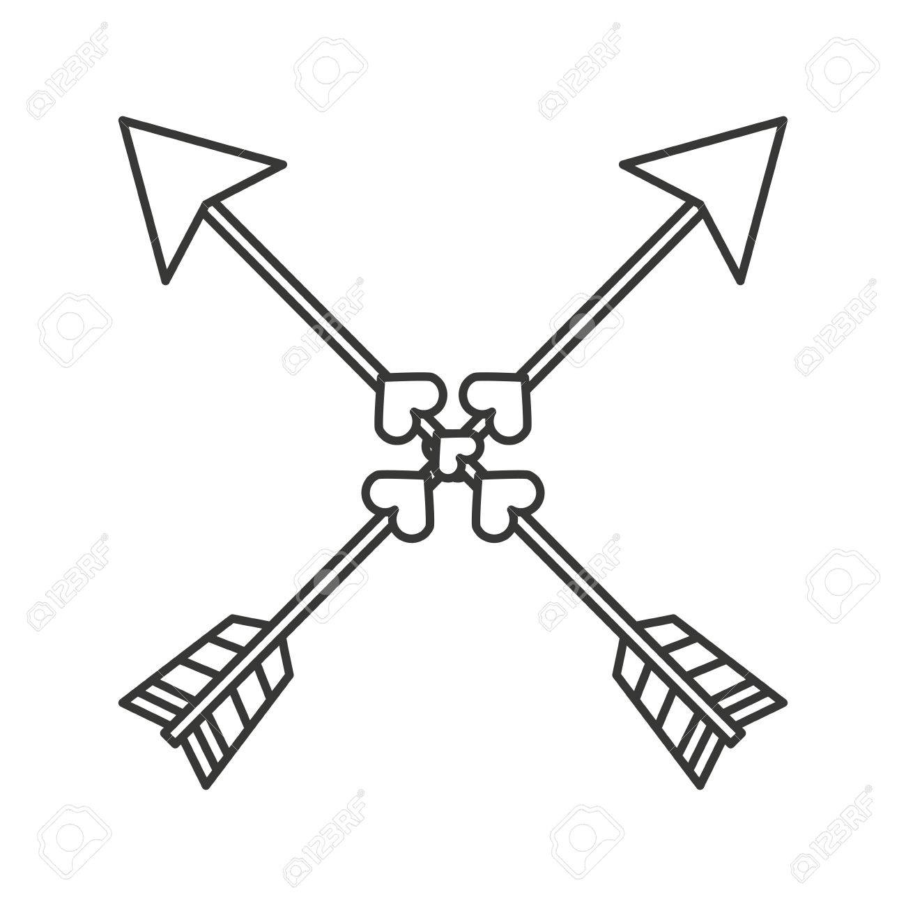 1300x1300 Indian Arrow Cross Isolated Icon Design, Vector Illustration