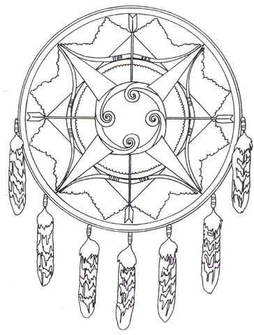364x480 Native American Mandala With Bows And Arrows Coloring Page Free