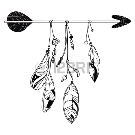 450x450 Vector Illustration Of An Arrow With Feathers. Indian Stylized