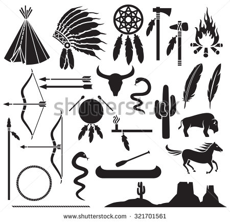 450x433 Native American Indians Icons Set (Bow And Arrow, Snake, Horse