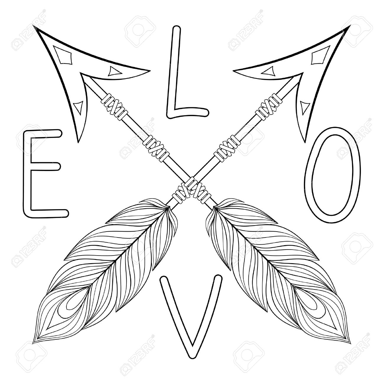 1300x1300 Bohemian Love Arrow Handpainted Sign With Feathers. Hand Drawn